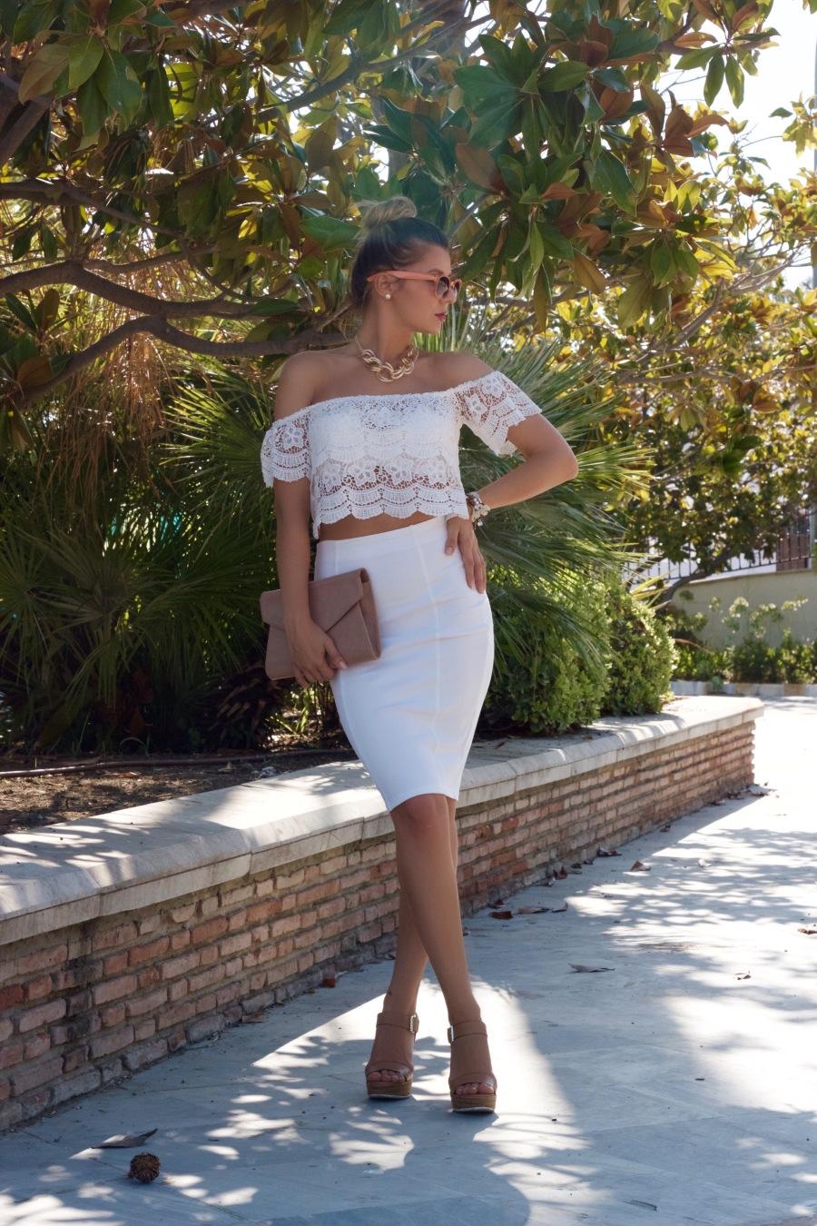 dresslink offshoulders crop top lace mbcos pensil skirt