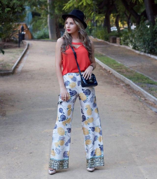 palazzo trousers orange dressin top mbcos blog de moda malaga fashion