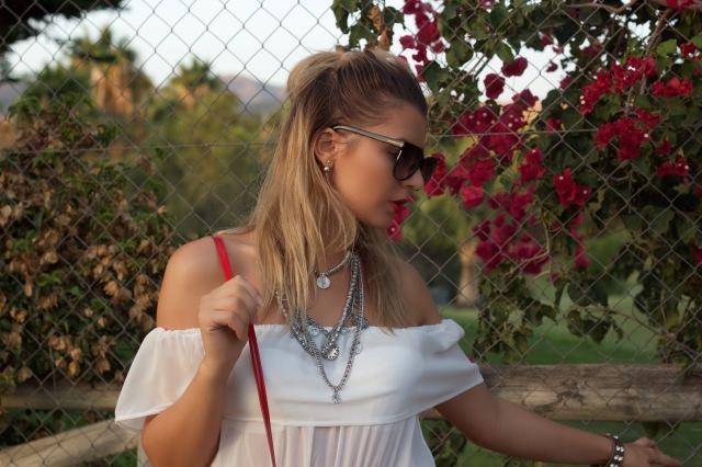 offshoulderswhitetop silver accessories tomforsunglasses mbcosblog marbellafashion
