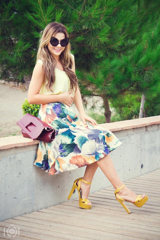 midi skirt yellow mbcos blog de moda fashion blogger malaga