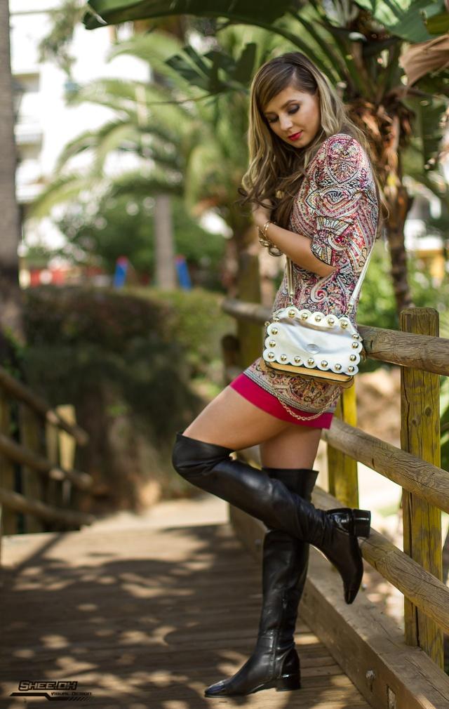 vestido estampada y over-knee-boots mbcos blog de moda fashion blogger